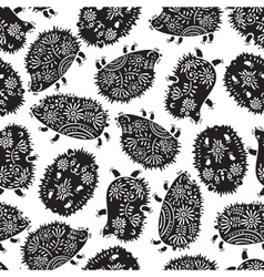 Seamless pattern with decorative hedgehogs cute vector