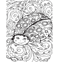 Adult coloring page design with bug vector