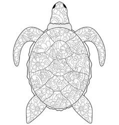 anti stress coloring sea animal turtle black vector image