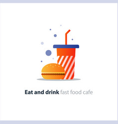 Burger and high red tumbler glass with straw fast vector