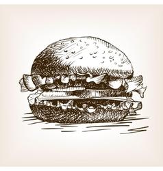 Burger sandwich hand drawn sketch style vector image