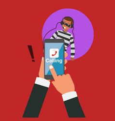 Business hand calling with eavesdropping by hacker vector