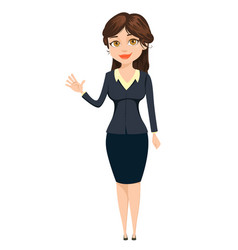 Businesswoman making greeting gesture cute vector