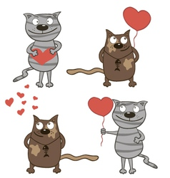 Cartoon cats and hearts vector image vector image