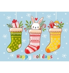 Christmas with socks and gifts in vector image