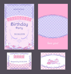 Colorful vintage birthday invitation cards set vector