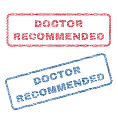 Doctor recommended textile stamps vector