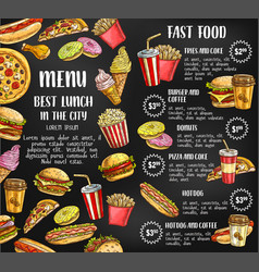 Fast food restaurant menu sketch poster vector