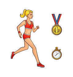 flat girl running golden medal stopwatch vector image vector image