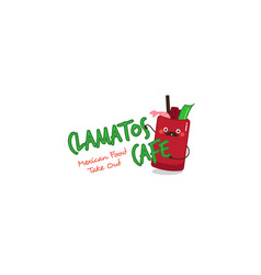 Funny clamatos logo mexican tomatoes soup mascot vector