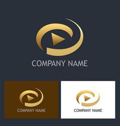 gold play button logo vector image