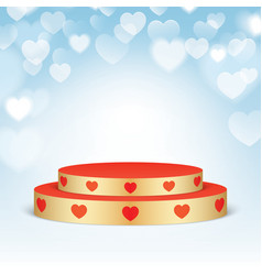 Golden pedestal with red hearts vector