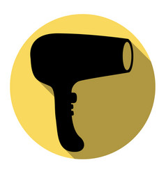 Hair dryer sign flat black icon with flat vector