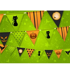Halloween bunting on green background vector