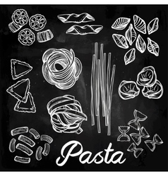 Hand drawn pasta variations set vector image