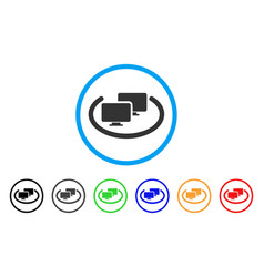 Intranet computers rounded icon vector