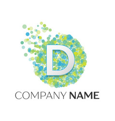 letter d logo blue green yellow particles vector image