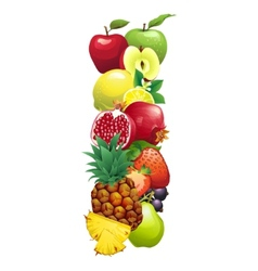 Letter I composed of different fruits with leaves vector image vector image