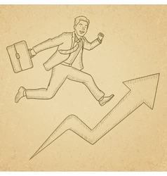Man running on arrow going upwards vector image vector image