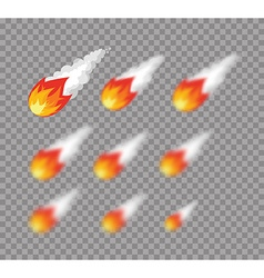 Meteorite Falling fireball Set meteorite with vector image