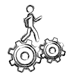 Monochrome sketch of man over two pinions vector