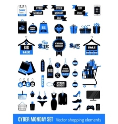 Set of Cyber Monday sale icons vector image
