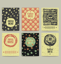 set of retro vintage posters with coffee vector image