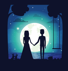 silhouette of couple at night vector image vector image