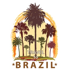 Travel banner with palm trees for brazil vector