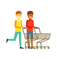 Two smiling men with an empty shopping carts vector