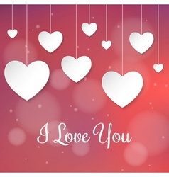 Valentines Day card with paper 3d hearts vector image vector image