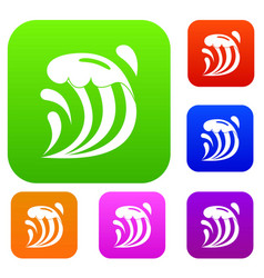 wave set color collection vector image