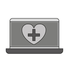 Monochrome laptop with heart on display vector