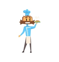 Professional cook in classic double breasted blue vector