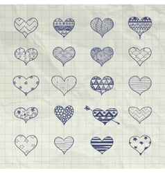 Hand drawn heart shapes with doodle vector