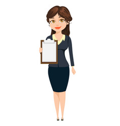 Businesswoman standing with clipboard cute vector