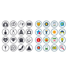 Set of wedding and engagement icons vector