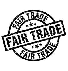 Fair trade round grunge black stamp vector