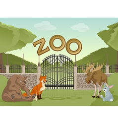 Zoo with forest animals vector