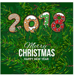 2018 christmas greeting card gingerbread cookies vector