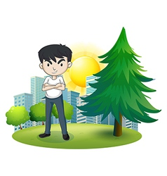 An angry man near the pine tree vector image