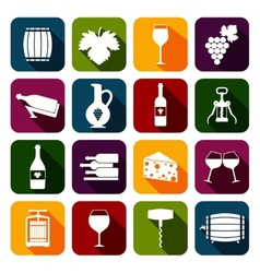 Wine icons set flat vector