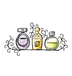 Sketch of perfume bottles for your design vector