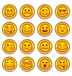 Smiley coins gold icons signs symbol set vector