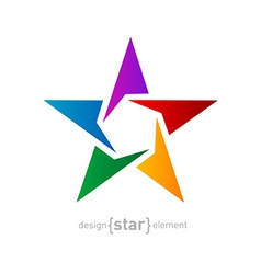 Abstract rainbow star design element on white vector