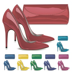Pairs of female high-heeled shoes and mini bags vector