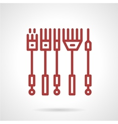 Red line icon for tattoo needles kit vector