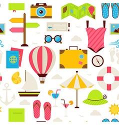 Flat Summer Travel Seamless Pattern vector image