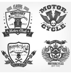Motorcycle label set vector