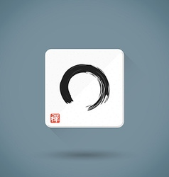 flat enso hand drawn sign icon zen buddhism red vector image